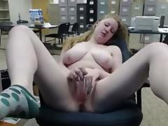 Masturbating naked at the office