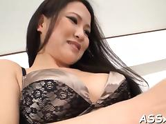 Japanese playgirl delights her snatch and anal with sex toys