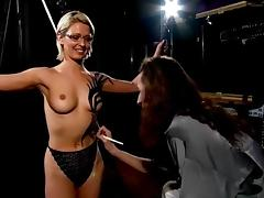 Jo Guest topless body-painted