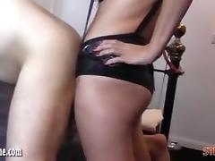 Femdom Strapon Jane fucks horny gimp ass as he wanks and cum