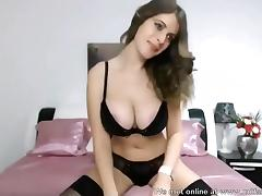 Hot beauty amateur with big tits exposed on camera