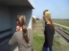 Train, Lesbian, Outdoor, Train