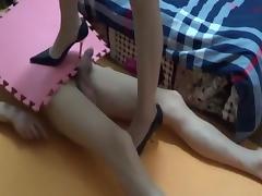 Chinese femdom footjob handjob shoejob 1