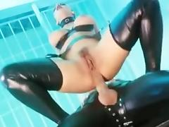 Busty latex brunette gets DPed