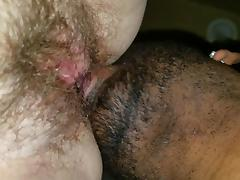 Eating a fat hairy pussy
