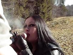 Outdoor Leather Blowjob Handjob - Smoking - Cum on my Tits
