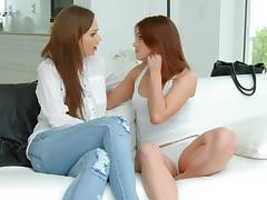 Evalina Darling and Tina Kay in a sensual lesbian scene by