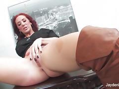 Redhead Jayden toys her tight pussy