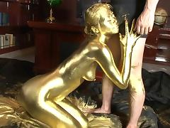 gold japanese beauty pleases her master