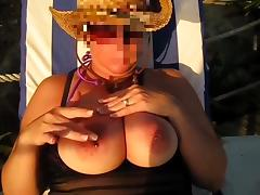 Suzy Playing With Her Big Tits At The Beach