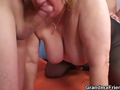 Big boobs old grandma double penetration