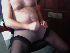 Stockings over pantyhose cum