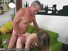 Old and Young, Blonde, Grandpa, Kissing, Old Man, Small Tits