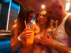 Bisexual pornstar cuties fucking in public