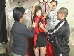 Amazing Japanese girl Azusa Ayano in Crazy Fishnet, Gangbang JAV video