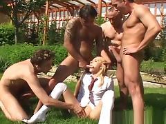 Amazing pornstar Camilla Love in horny facial, gangbang adult scene