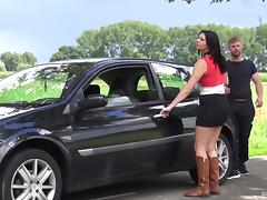 Miniskirt, Black, Blowjob, Brunette, Car, Couple