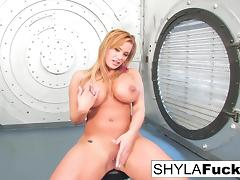 Shyla gives you a sexy strip and solo