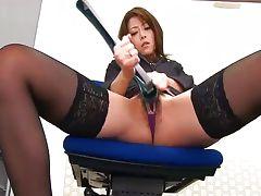 During an office break Maki Hojo toys her pussy