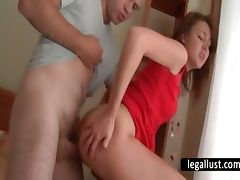 Teen bitch gets anal fucked in close up