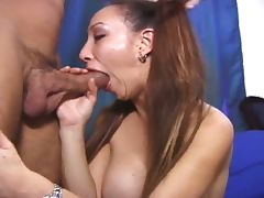 Big tits naughty asian hustler sucking white cock