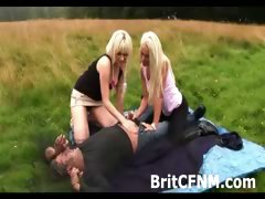 CFNM man pursued by two horny femdom girls