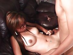 Sunglass Asian horny stuffed by strong cock
