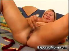Juggs mother on a horny vibrator porn video