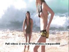 Faye and Larysa Tender Crazy Lesbians On Beach