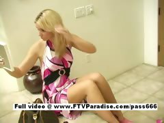 Vicki lovely blonde girl puts makeup on