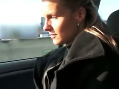 Hot amateur blonde babe suck and fuck in public in a car