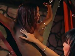 Two sexy ebony lesbians in hot bdsm scene