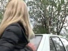 Perfect tits blonde bombshell pulled and fucked inside the car for cash