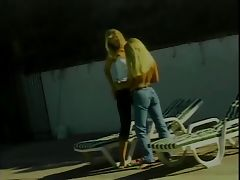 Gorgeous blonde lesbian girls love to lick pussy and play with sex toys poolside