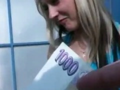 Cute carwash girl payed for hardcore sex and blowjob strangers dick