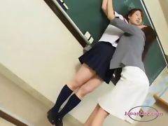 Schoolgirl Kissing Passionately Getting Her Pussy Licked And Fingered By Her Teacher In The Classroo