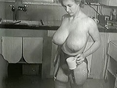 Cleaning House in Sexy Big Tits Stockings 1950 porn video