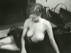 Sexy Topless Mature Babe Smoking 1950