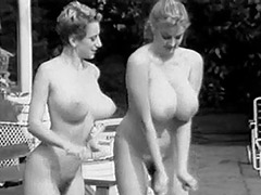 Two Busty Girls Shaking Boobs in Pool 1960