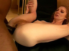 Redhead Hairy Pussy Diva Serves a Good Fuck for Enormously Big Black Dick