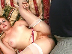 Sweet MMF Group Fuck Action to Exploit a Redhead Hairy Cunt Girl with a Cherry Poppins Name