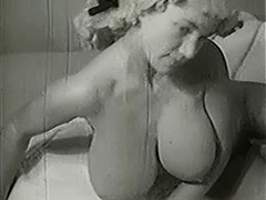 MILF with Big Tits is Bathing and Toweling 1950