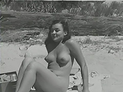 Blonde Sunbathing Hairy Naturist Girl 1950 porn video