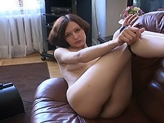 Lonely Russian Teen Plays with Fucking Machine to Bring Her Hairy Pussy some Pleasure porn video