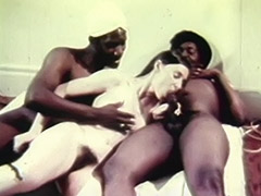 Young White Teen Girl with two Older Black Dudes 1970