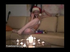 Xmas candle inside of me I masturbate with xmas candle and getting orgasm in front of my friends You