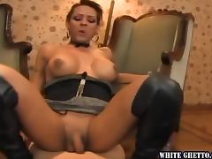 Tattooed tranny Alena gets doggy style fucked in hot POV clip