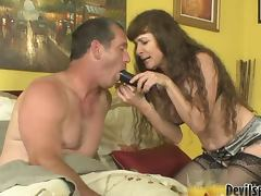 Alexandra Silk gets fucked and fucks a guy with strap on