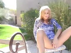 Patio Masturbation With The Blonde Babe Ashley And A Thick Cucumber