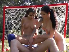 Brunette Sports Sluts April O'Neil and Daisy Cruz Get Threesomed